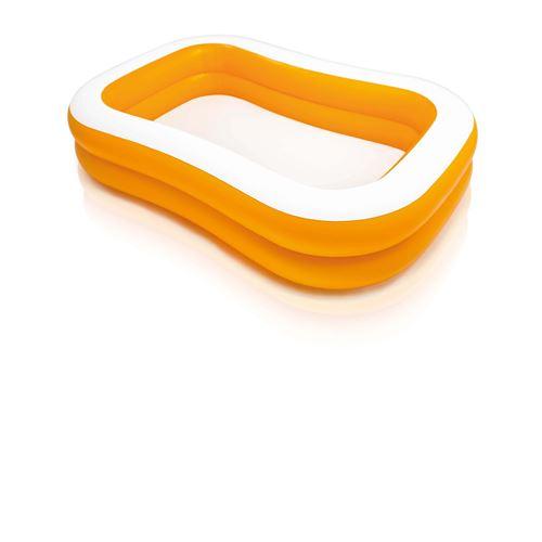 Piscine gonflable rectangulaire Abricot - L. 229 x H. 46 cm - Orange