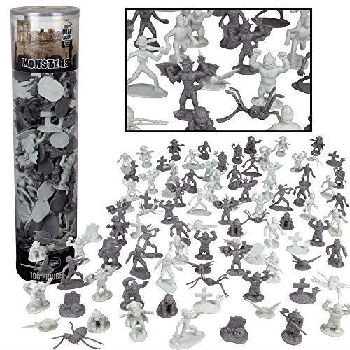 Seau de figurine d'action SCS Direct Monster - Grand seau de 100 figurines d'horreur - de Dracula à Frankenstein, en passant par les araignées géantes - idéal pour les décorations de gâteaux, les cadeaux de fête d'Halloween et les décorations