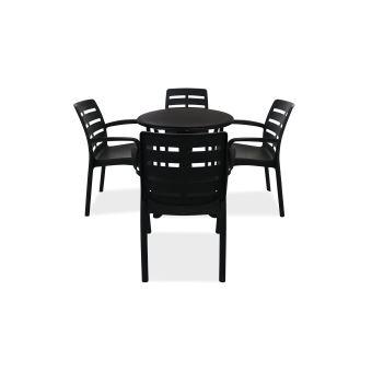 Table de jardin ronde et 4 fauteuils plastique - Gris ...