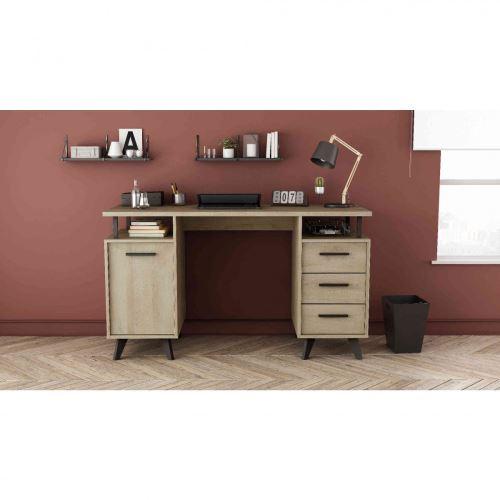 Bureau 1 porte 3 tiroirs en bois chêne kronberg - BU151