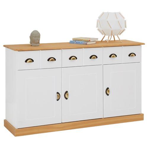 Buffet PARIS commode bahut vaisselier avec 3 portes battantes et 3 tiroirs pin massif lasuré blanc et brun