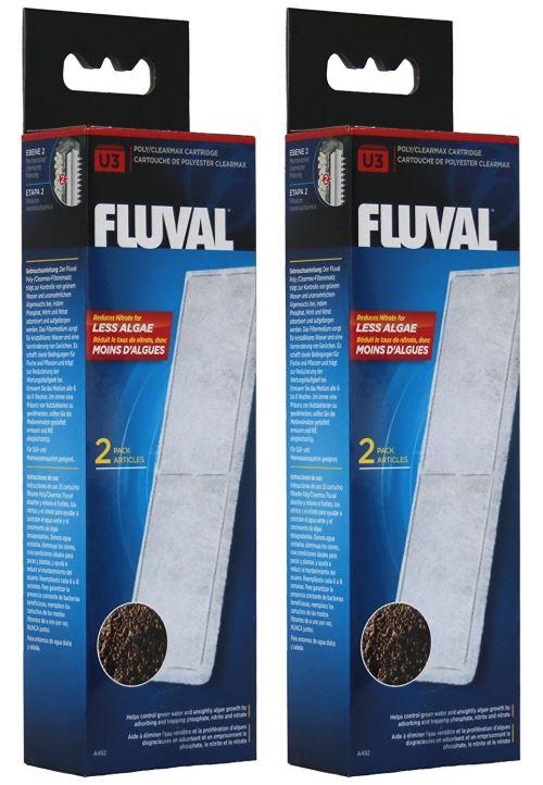 Fluval A482 Poly/Clearmax cartouche pour filtre Fluval U3, 2 x 2 pièces