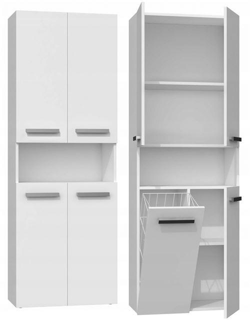 GLAZE | Armoire de salle de bain avec porte + panier | Style moderne | 174x60x30 cm | Colonne salle de bain | Blanc
