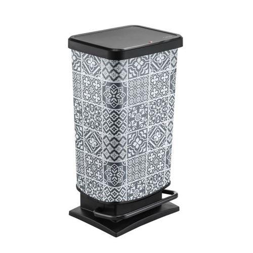 Poubelle de cuisine a pédale paso - 40 l - motif carreaux de ciment - blanc et gris sun