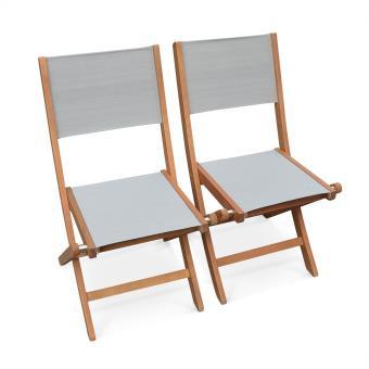 Lot de 2 chaises de jardin pliantes en bois Almeria, Eucalyptus FSC huilé  et textilène gris taupe - Alice\'s Garden