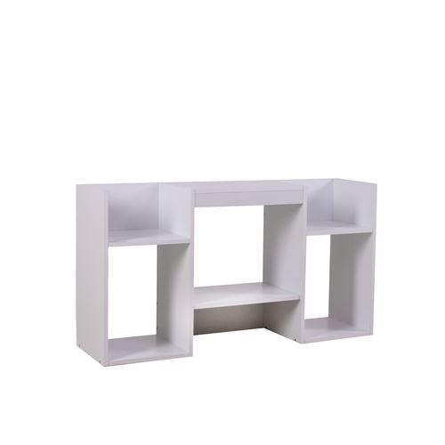 Meuble TV / étagère, 6 niches, 109x30x59cm, blanc