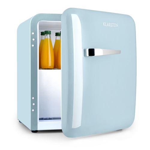 Klarstein Audrey Mini réfrigérateur á boissons 37 litres , compartiment freezer , 39dB , classe A+ - Design rétro bleu