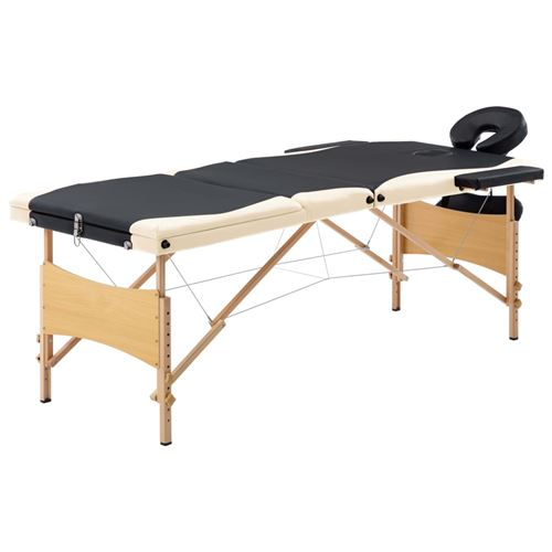 vidaXL Table de massage pliable 3 zones Bois Noir et beige