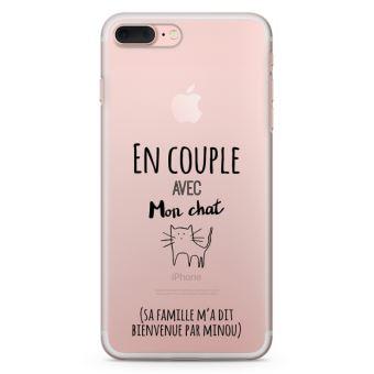 Coque iPhone 7 Plus Plus En couple avec mon chat Taille iPhone 7 Plus Plus Plus Souple Transparente Encre Noir