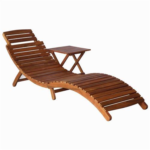 Chunhe Chaise longue avec table Bois d'acacia massif Marron AB46653