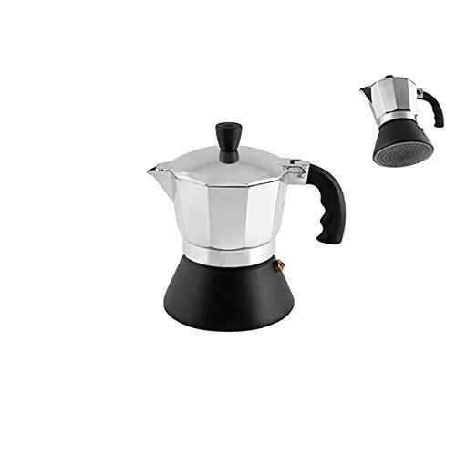 Home cafetière 3 tasses, fond induction, aluminium, argent noir, 12 x 11 x 17 cm