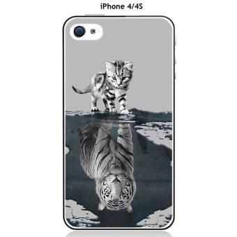 Coque TPU gel souple Apple iphone 4 4S design Chat Tigre Blanc fond gris