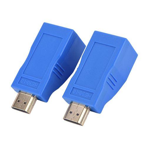2Pcs 1080P Hdmi À Rj45 Sur Cat 5E / 6 Cable Network Extender Adaptateur Convertisseur Bleu MK8101