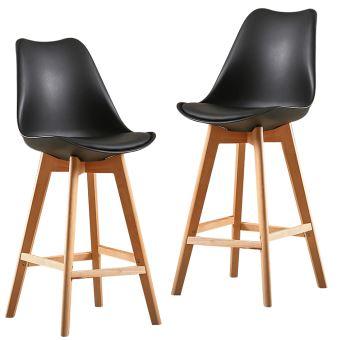 Lot de 2 Haute Chaise Scandinave Tabouret de Bar Noir
