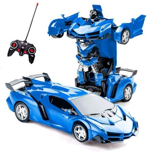 SHOP-STORY - Voiture télécommandée 2 en 1 transformable en robot - Couleur Bleu