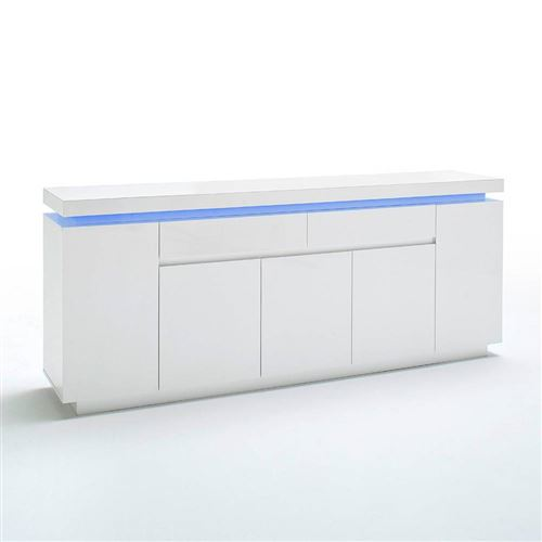 Buffet OCEAN laqué blanc brillant 5 portes 2 tiroirs LED inclus