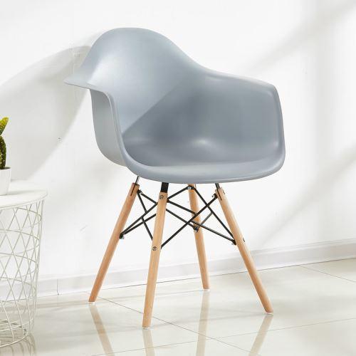 Chaise Scandinave Moda Romano Grise Inspiration Eames Accoudoirs & Pieds en Bois Salle à Manger, Salon, Cuisine