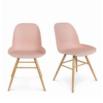 Lot de 2 chaises résine et bois Albert Kuip Zuiver Couleur