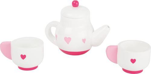 Small Foot service à thé en bois 4 pièces blanc/rose