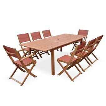 Salon de jardin en bois Almeria, grande table 180-240cm ...