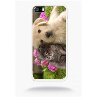 Coque chiot golden retriever et chaton compatible apple iphone 5s silicone blanc mat