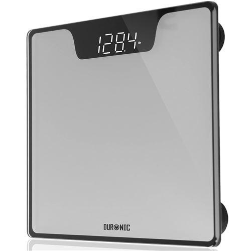 Duronic BS303 Balance Corporelle / Pèse Personne Capacité élevée de 180 kg Ecran LCD lisible blanc sur noir Verre argenté et noir Mesure en kilogrammes Automatique Surveillez votre poids