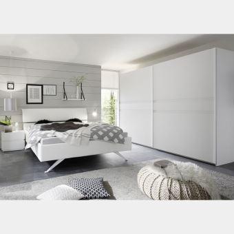 Chambre Adulte Blanc Laque Mat Linus 3 L 180 X P 200 Cm Achat Prix Fnac