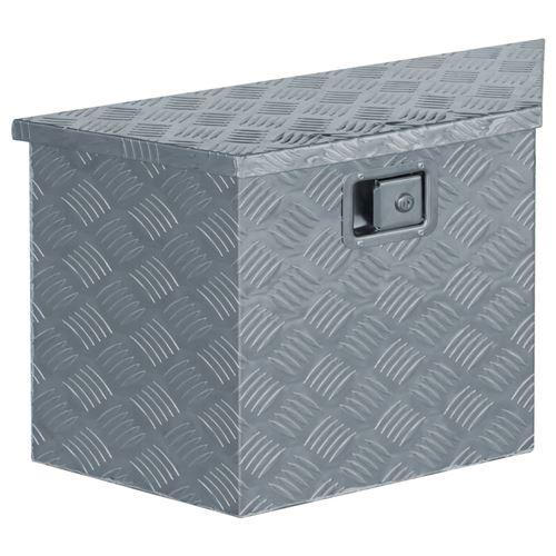 vidaXL Boîte en aluminium 70 x 24 x 42 cm Trapézoïdal Argenté