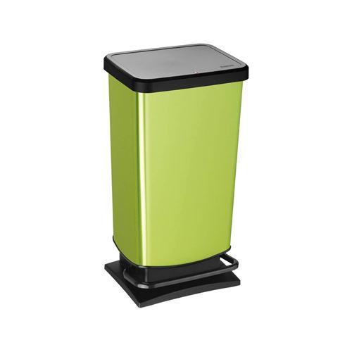 ROTHO Poubelle à pédale PASO 40 litres carré vert métallisé | Poubelle pour une élimination facile des déchets