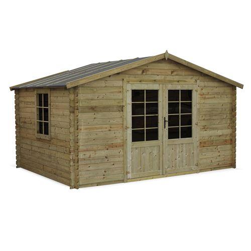 Abri de jardin 3 x 4 m traité autoclave classe 3, SERRE CHEVALIER en bois FSC de 12,9 m², structure en madriers 28 mm, sapin du nord