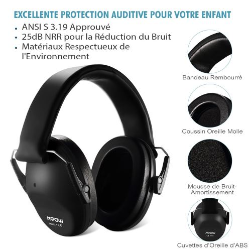 Casques Antibruit à Prote ... Mpow Casque Anti-bruit Adulte Sac de Transport