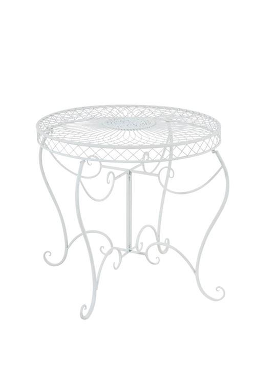 Table de jardin Sheela en fer forgé , Blanc