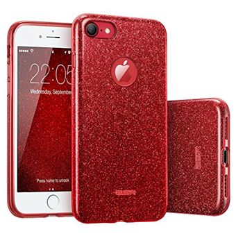 ESR Coque pour iPhone 7 Coque Silicone Paillette Stra Brillante Glitter de Luxe Bumper Houe Etui de Protection Anti Choc pour iPhone 7 Rouge Paillete