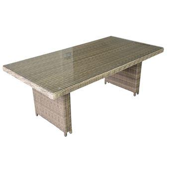 Table de jardin rectangulaire 180x100cm en résine tressée beige PORTEFINO  beige,taupe