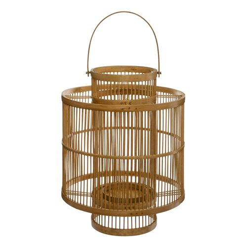Lanterne en rotin ethnique Finya - H. 28 cm - Beige