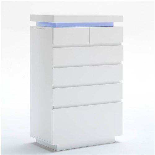 Commode haute OCEAN laqué blanc brillant 6 tiroirs LED blanc inclus