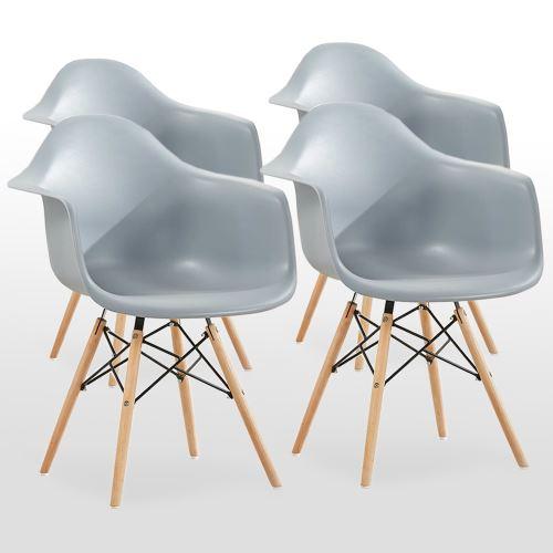 Lot de 4 Chaises Scandinaves Moda Romano Grises Inspiration Eames Accoudoirs & Pieds en Bois Salle à Manger, Salon, Cuisine