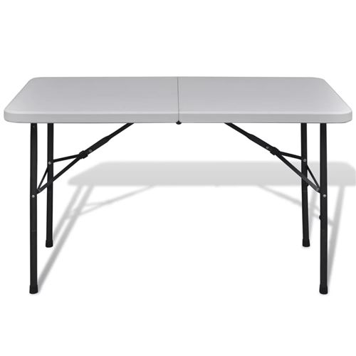 Table de jardin pliable 122 cm blanche en HDPE