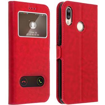 Housse Huawei P20 Lite Etui Clapet 2x Fenêtre Coque Silicone Gel - Rouge
