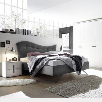Chambre complete adulte blanc et gris MAELLE - L 160 X P 200 cm