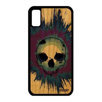 coque iphone 7 tete de mort bois