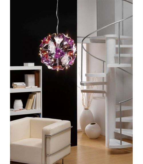 Suspension Otto 41 Ampoule G4 Sphere, chrome poli/verre dépoli/Multi-Colour verre