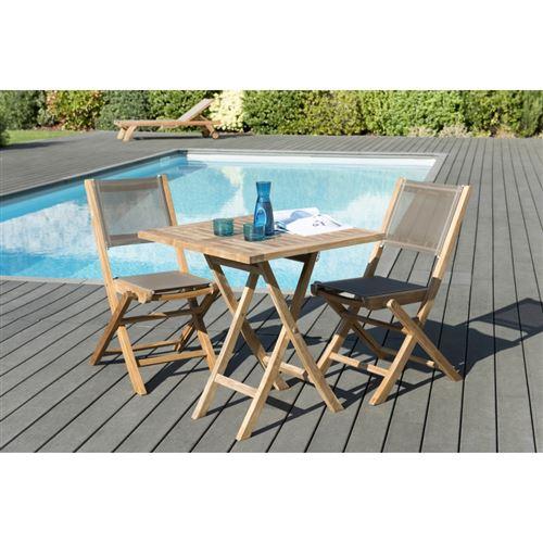 Salon de jardin bois teck grade A: 1 table carrée pliante 70*70cm et 1 lot de 2 chaises pliantes textilène couleur taupe