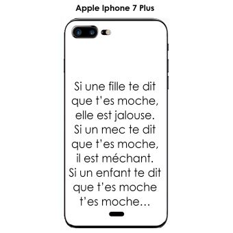 Onozo Coque TPU gel souple Apple iphone 7 Plus iphone 8 Plus design Citation Si une fille te dit Texte noir fond blanc
