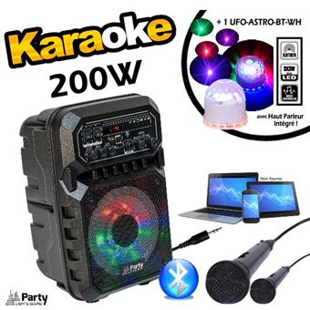 Pack Karaoké 200w Enceinte Bluetooth Usb 2 Micros Jeu De Lumière Ufo Astro Enceintes Baffle Et Amplis Top Prix Fnac