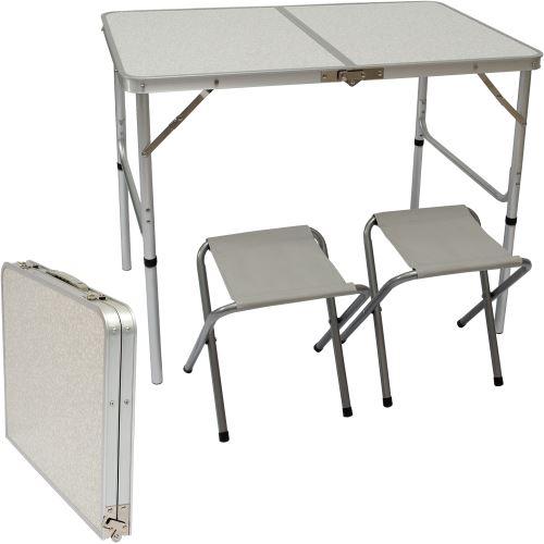 AMANKA Table de Camping pliable réglable en hauteur 90x60x70cm incl 2 Tabourets pliants format malle