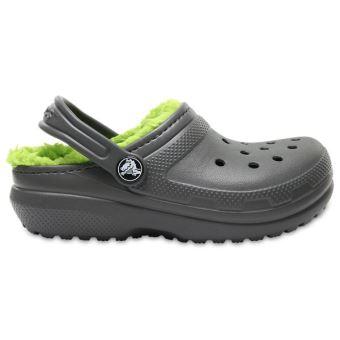 c5d4eb7a777e Crocs Enfant Classic Fuzz Lined Roomy Fit Clogs Chaussures Sandales en  Slate Gris   Volt Vert 203506 0DF  Child 8  - Chaussures et chaussons de  sport ...