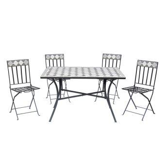 Ensemble table rectangulaire chaises pliantes mosaïque mobilier jardin  S1011006