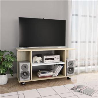 meuble tv avec roulettes blanc et chene sonoma 80x40x40 cm