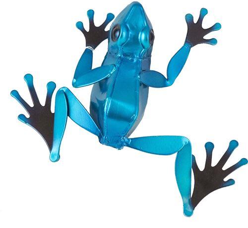 Fountasia - Grenouille décorative en métal coloré 19 cm Bleu